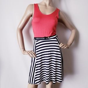 Heart & Hips Coral/Navy Nautical Stripes Dress